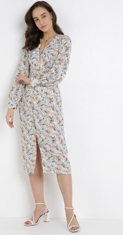 Sukienka born2be midi z dekoltem w kształcie litery v z długim rękawem
