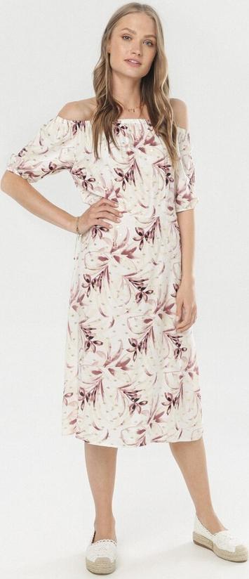 Sukienka born2be midi z długim rękawem z odkrytymi ramionami