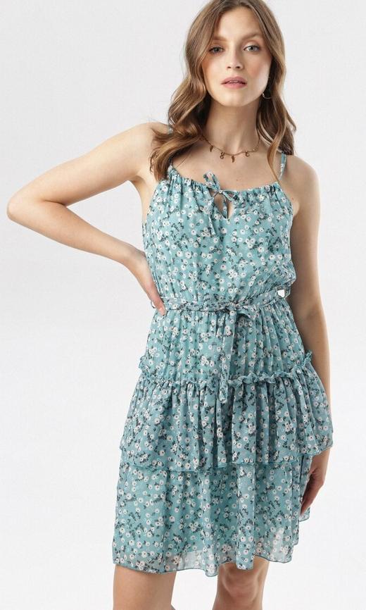 Sukienka born2be mini z żabotem rozkloszowana