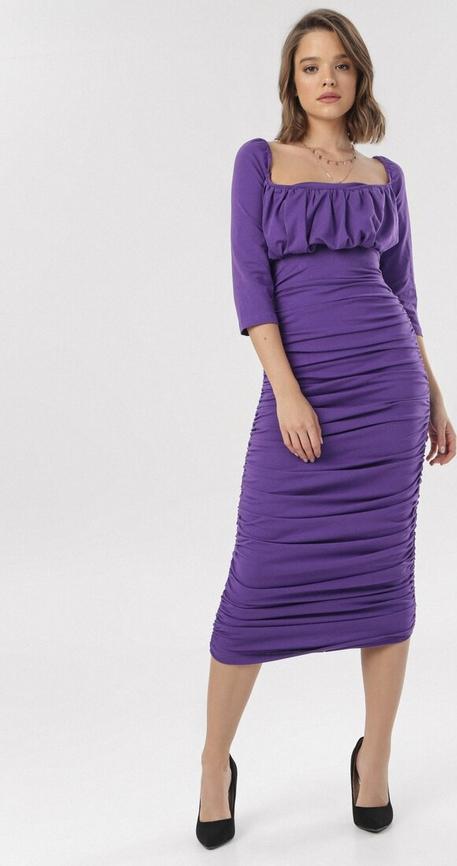 Sukienka born2be ołówkowa midi z długim rękawem
