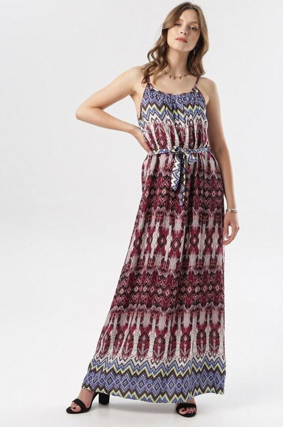 Sukienka born2be prosta z okrągłym dekoltem na ramiączkach
