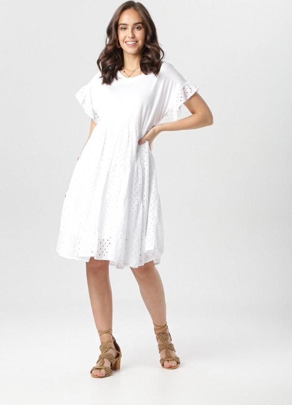 Sukienka born2be rozkloszowana mini z krótkim rękawem