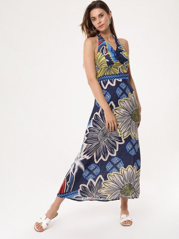Sukienka born2be trapezowa maxi z dekoltem w kształcie litery v