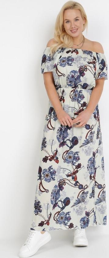 Sukienka born2be trapezowa z okrągłym dekoltem maxi