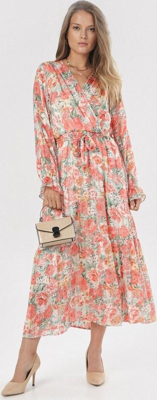 Sukienka born2be w stylu boho trapezowa z długim rękawem