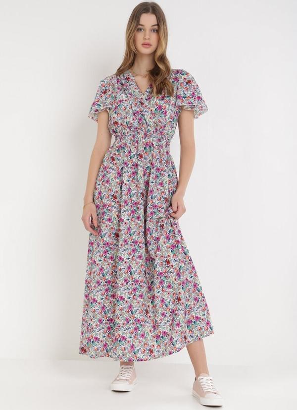 Sukienka born2be w stylu boho z dekoltem w kształcie litery v z krótkim rękawem