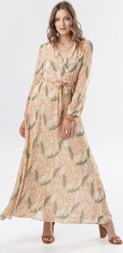 Sukienka born2be w stylu boho z długim rękawem maxi