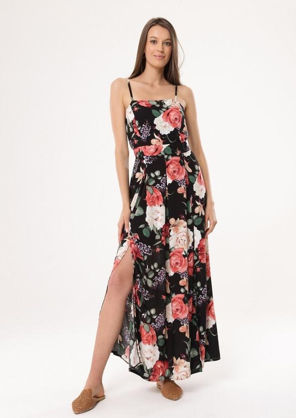 Sukienka born2be z dekoltem w karo maxi w stylu casual
