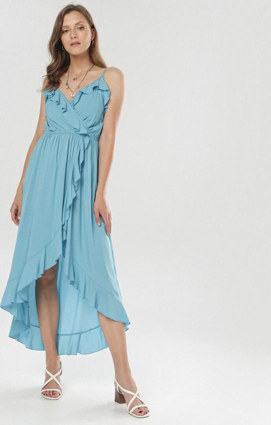 Sukienka born2be z dekoltem w kształcie litery v midi