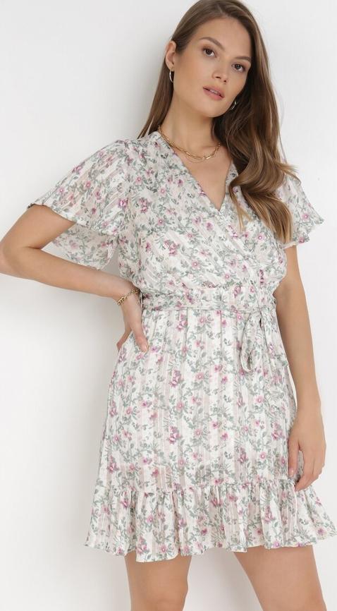 Sukienka born2be z dekoltem w kształcie litery v mini z krótkim rękawem