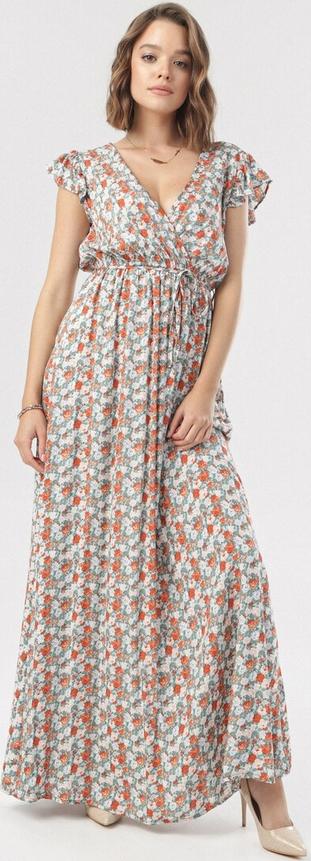 Sukienka born2be z dekoltem w kształcie litery v trapezowa z krótkim rękawem