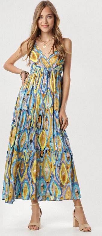 Sukienka born2be z dekoltem w kształcie litery v w stylu boho maxi