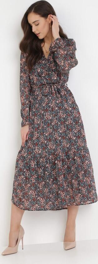Sukienka born2be z dekoltem w kształcie litery v w stylu boho midi