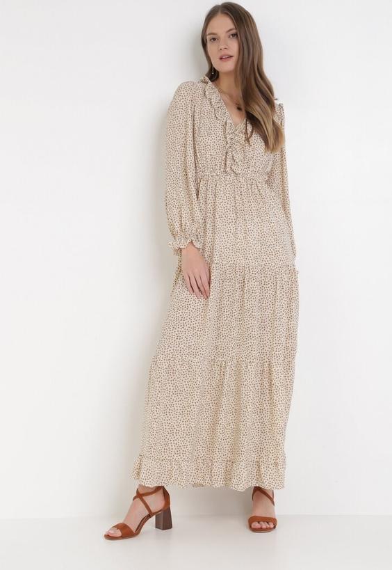 Sukienka born2be z dekoltem w kształcie litery v z długim rękawem maxi