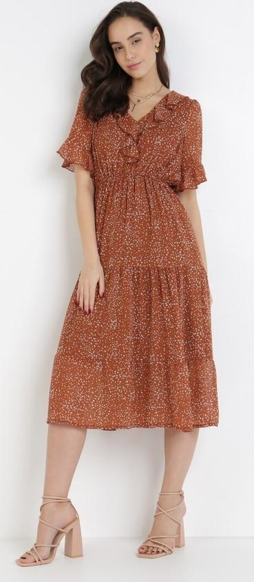 Sukienka born2be z dekoltem w kształcie litery v z krótkim rękawem midi