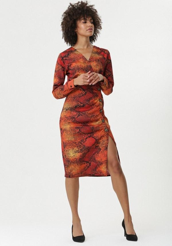 Sukienka born2be z długim rękawem szmizjerka z dekoltem w kształcie litery v