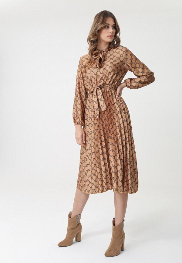 Sukienka born2be z długim rękawem w stylu casual rozkloszowana