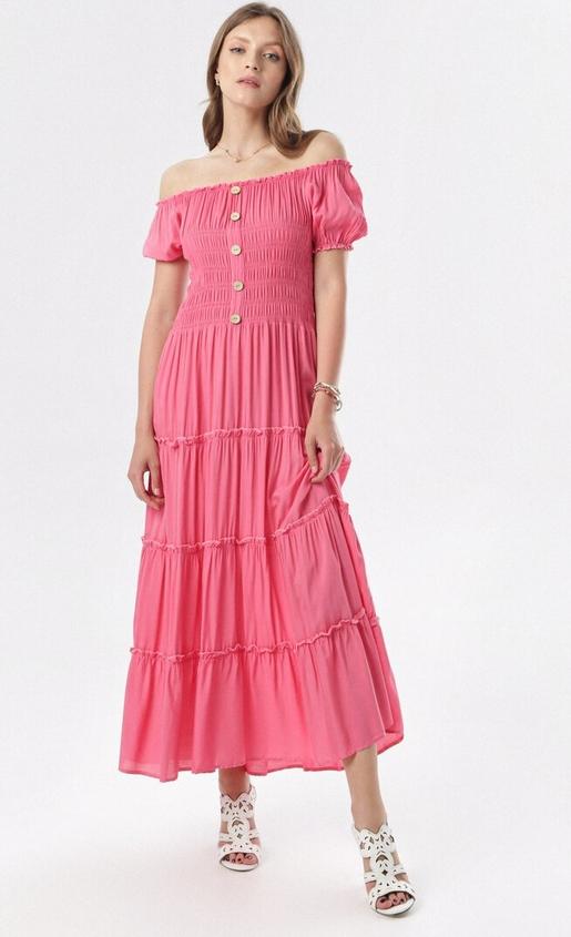 Sukienka born2be z krótkim rękawem rozkloszowana maxi
