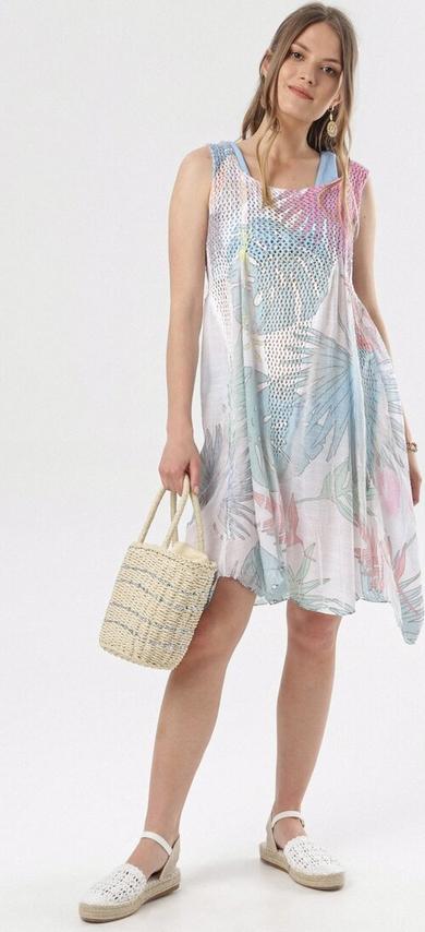 Sukienka born2be z okrągłym dekoltem asymetryczna w stylu casual