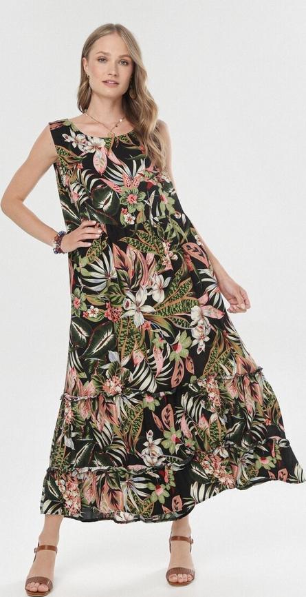 Sukienka born2be z okrągłym dekoltem maxi