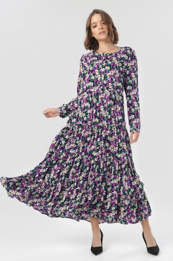 Sukienka born2be z okrągłym dekoltem maxi w stylu boho
