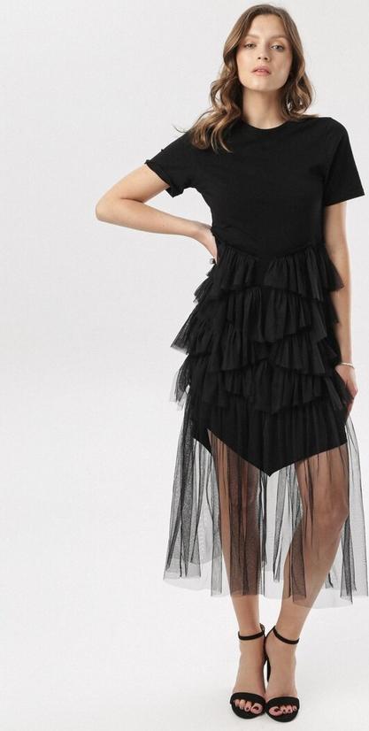 Sukienka born2be z okrągłym dekoltem midi