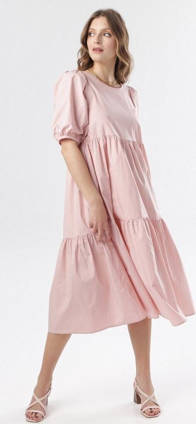 Sukienka born2be z okrągłym dekoltem midi z krótkim rękawem
