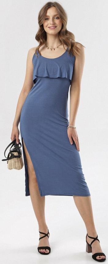 Sukienka born2be z okrągłym dekoltem prosta
