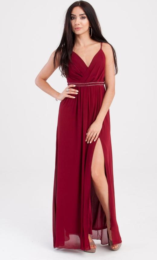 Sukienka Butik Ecru maxi z dekoltem w kształcie litery v z szyfonu