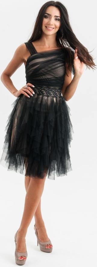 Sukienka Butik Ecru midi z okrągłym dekoltem