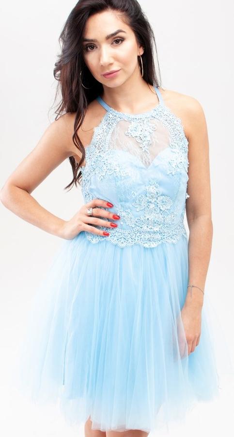 Sukienka Butik Ecru mini bez rękawów rozkloszowana