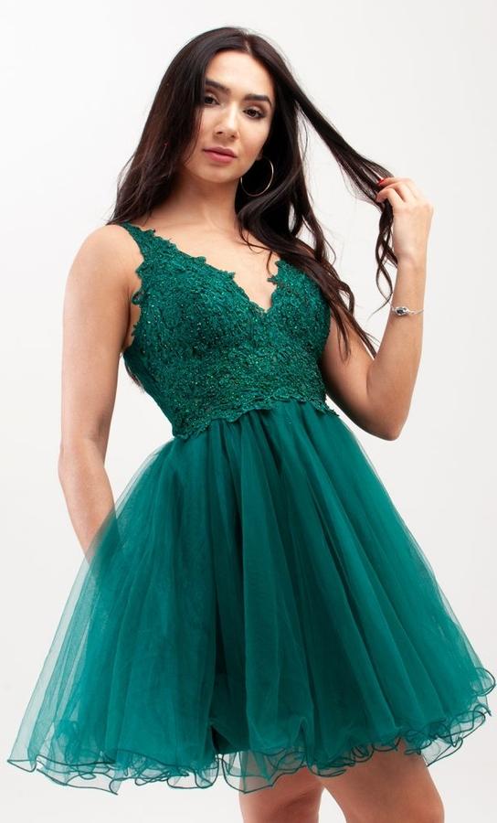Sukienka Butik Ecru na ramiączkach rozkloszowana z dekoltem w kształcie litery v