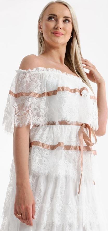 Sukienka Butik Ecru z krótkim rękawem hiszpanka w stylu boho