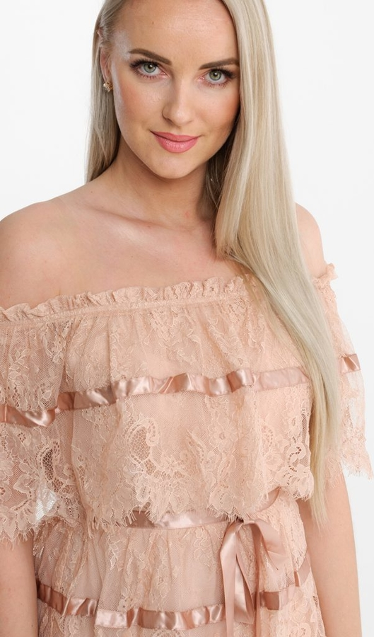 Sukienka Butik Ecru z krótkim rękawem maxi