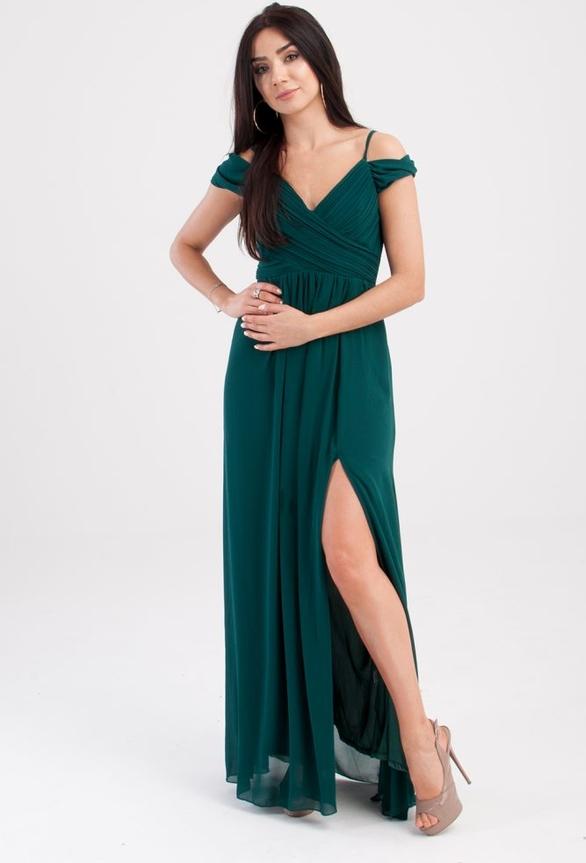 Sukienka Butik Ecru z odkrytymi ramionami z szyfonu z dekoltem w kształcie litery v