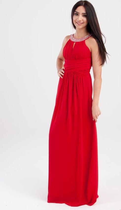 Sukienka Butik Ecru z okrągłym dekoltem maxi