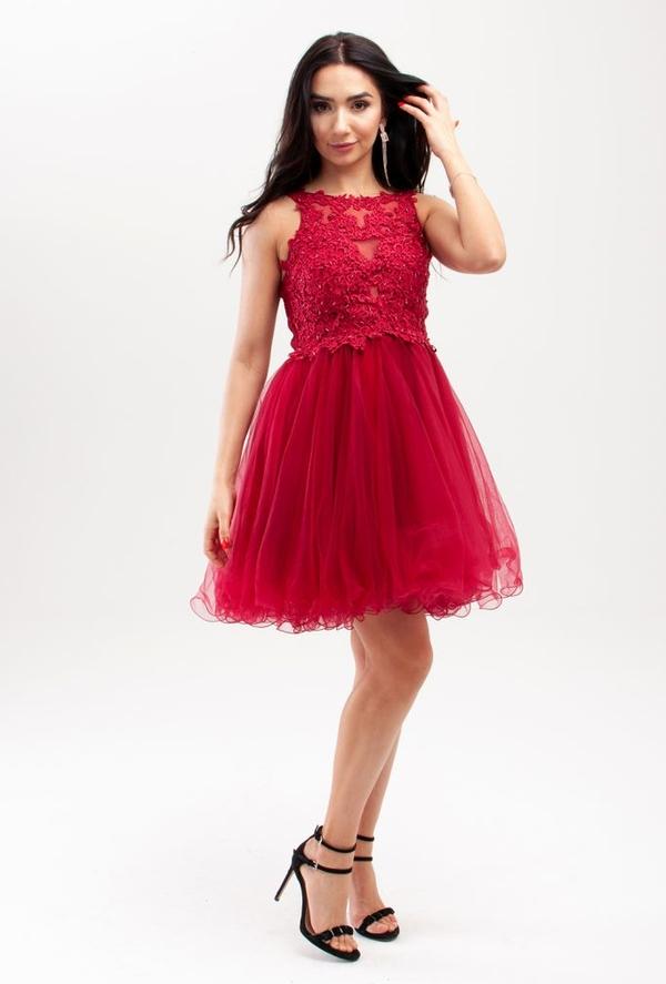 Sukienka Butik Ecru z tiulu mini rozkloszowana
