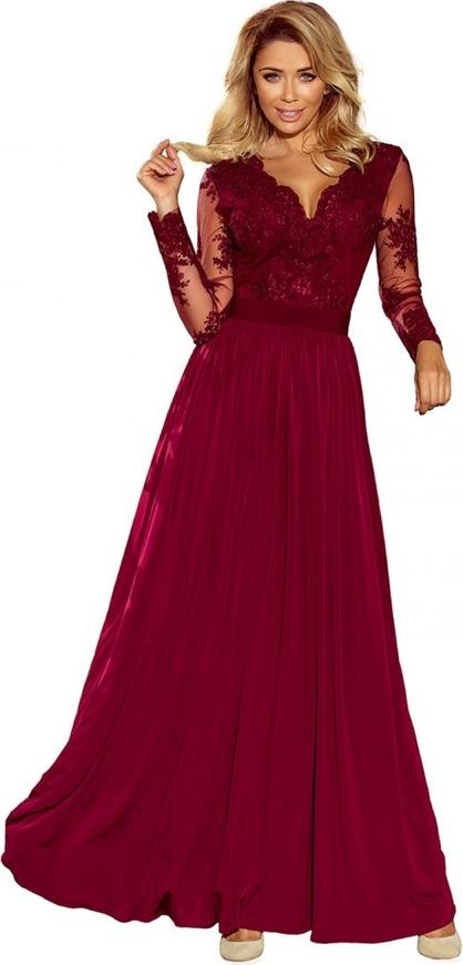 Sukienka candivia.pl maxi z długim rękawem z dekoltem w kształcie litery v