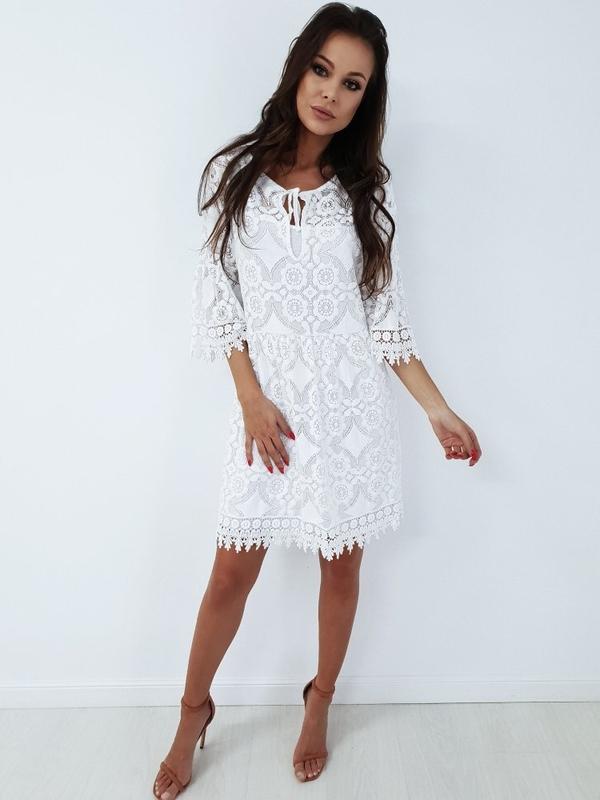 Sukienka chloee.pl z dekoltem w kształcie litery v z długim rękawem midi