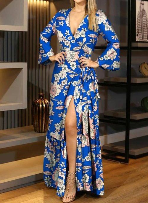 Sukienka Cikelly maxi z dekoltem w kształcie litery v z długim rękawem