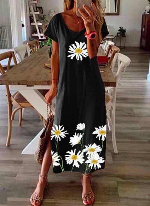 Sukienka Cikelly maxi z dekoltem w kształcie litery v z krótkim rękawem