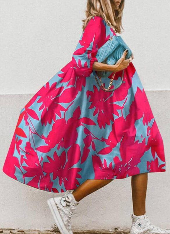 Sukienka Cikelly midi z dekoltem w kształcie litery v z długim rękawem