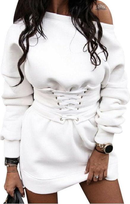 Sukienka Cikelly w stylu casual z bawełny z długim rękawem