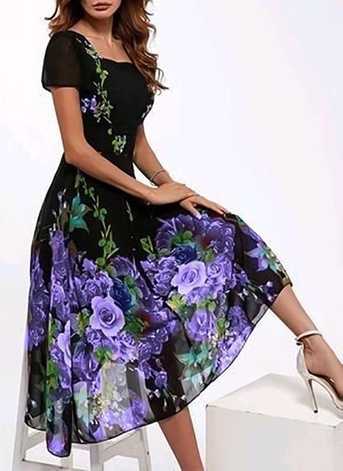 Sukienka Cikelly z krótkim rękawem z dekoltem w kształcie litery v midi