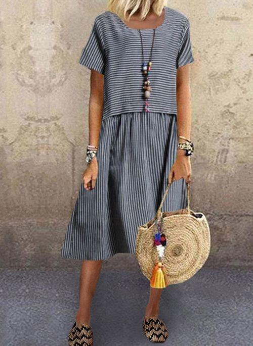 Sukienka Cikelly z krótkim rękawem z okrągłym dekoltem w stylu casual