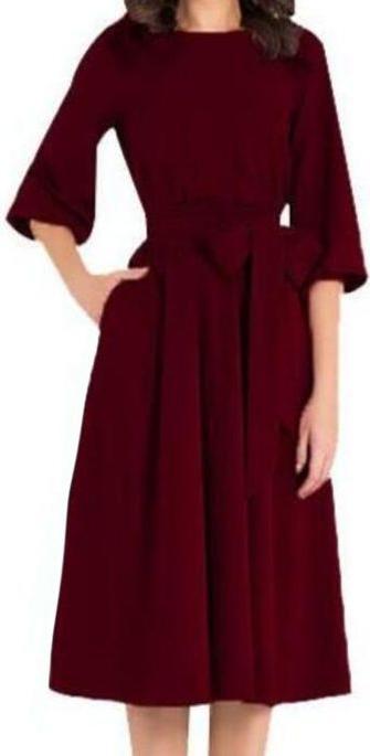 Sukienka Cikelly z okrągłym dekoltem rozkloszowana