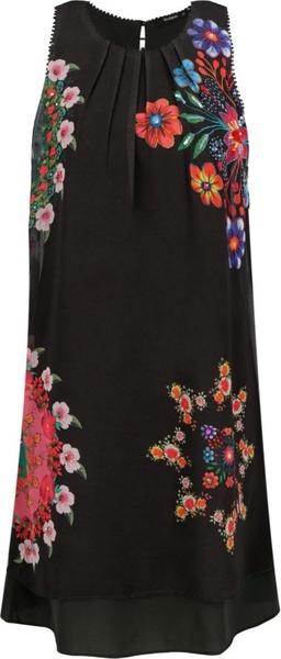 Sukienka Desigual z długim rękawem z okrągłym dekoltem w stylu casual