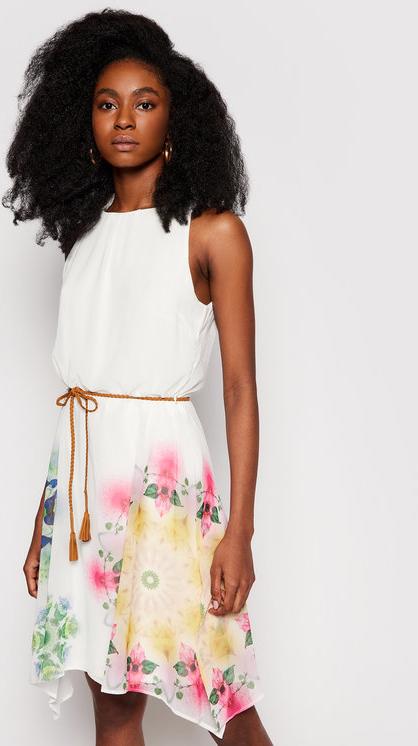 Sukienka Desigual z okrągłym dekoltem mini