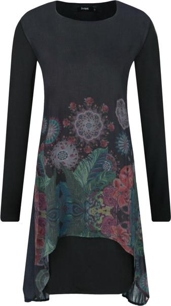 Sukienka Desigual z okrągłym dekoltem prosta mini