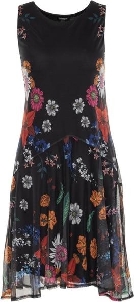 Sukienka Desigual z okrągłym dekoltem rozkloszowana w stylu casual